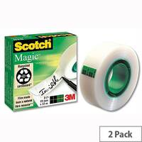 Scotch Magic Tape 12mm x 66m Matt Pack 2