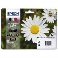 Epson 18XL Inkjet Cartridges High Capacity 31.3ml Black Cyan Magenta Yellow C13T18164010 Pack 4 C13T18164012