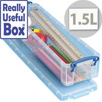 Really Useful Storage Box Plastic Lightweight Robust Stackable 1.5 Litre Clear