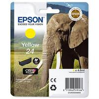Epson 24 (T2424) Yellow Inkjet Cartridge Capacity 4.6ml Page Life 360pp Ref T24244010 C13T24244012