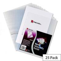 Rexel Heavy Duty Top &Side Opening Punched Pocket A4 Clear Pack 25