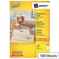 Avery 3478 White Multi-Function Copier Labels 1 per Sheet A4 100 Labels