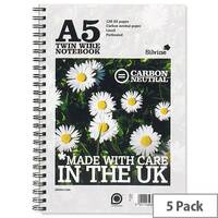 Silvine A5 Notebook Punched 2 Holes 120 Pages Pack 5