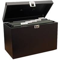 Home File with 5 Suspension Files 2 Keys and Index Tabs Steel Foolscap Black