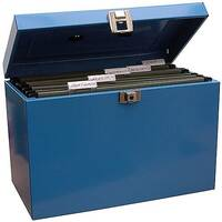 Home File with 5 Suspension Files 2 Keys and Index Tabs Steel Foolscap Blue