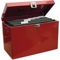 Home File with 5 Suspension Files 2 Keys and Index Tabs Steel Foolscap Red