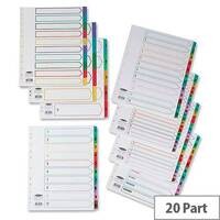 Concord Extra Wide A-Z Index Multicolour Tabs Europunched 20-Part A4 White