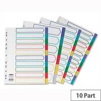 Concord A4 Plastic Subject Dividers Europunched 10-Part Assorted