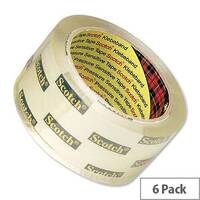 Scotch Clear Low Noise Packing Tape 48mmx66m (6 Pack)