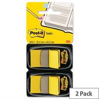 Post-it Yellow Index Flags 50 per Pack 25mm Pack 2
