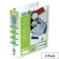 Elba Presentation A4 Ring Binder 65mm Capacity White 4 D-Ring 560340 Pack 4