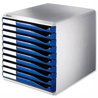 Leitz Desktop Filing Unit Blue and Grey A4 10 Drawers
