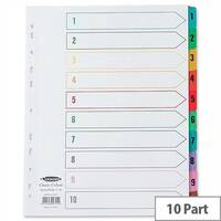 Concord 1-10 Index Extra Wide Europunched Multicolour Tabs A4