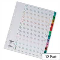 Concord 1-12 Index Extra Wide Multicolour Tabs Europunched A4 Subject Dividers White