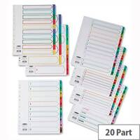 Concord 1-20 Index Extra Wide Multicolour Tabs Europunched A4 White