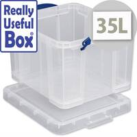 Plastic Storage Box 35 Litre Stackable Clear Really Useful