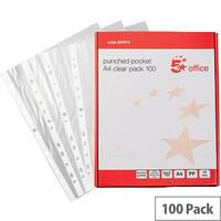 5 Star A4 Clear Punched Poly Pocket Top-Opening 40 Micron Pack 100