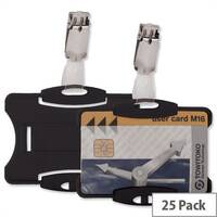 Security Pass Badge Holder Black 54x85mm Pack 25 Durable