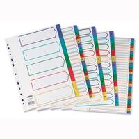 Concord Plastic 1-10 Index Extra Wide A4 Europunched Subject Dividers Assorted