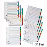 Concord 1-31 Index Extra Wide Multicolour Tabs Europunched A4 White