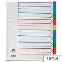 Concord 10-Part Punched Pocket Dividers Plastic A4 Multicolour Tabs