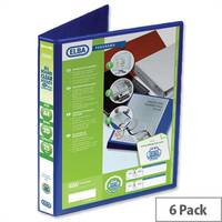 Elba Presentation A4 Ring Binder 25mm Capacity Blue 2 D-Ring 560302 Pack 6