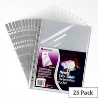 Rexel Top and Side Opening Punched Poly Pocket Clear A4 Grey Strip Pack 25