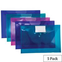 Pukka Stud ID Wallet File Vibrant Polypropylene with Card Holder A4 Assorted Ref 7096-PFL [Pack 5]