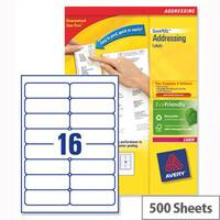 Avery L7162-500 Address Laser Labels 99.1x33.9mm White (8000 Labels)