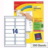Avery L7163-500 Laser Address Labels 99.1x38.1mm White (7000 Labels)