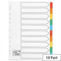 10 Part Index Coloured Mylar Tabs A4 5 Star