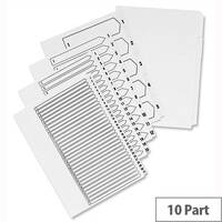 Concord Unpunched 10 Part Index A4 White Subject Dividers Pack 10