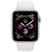 Apple Watch Series 4 (GPS + Cellular) - silver aluminium - smart watch with sport band - white - 16 GB
