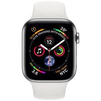 Apple Watch Series 4 (GPS + Cellular) - stainless steel - smart watch with sport band - white - 16 GB