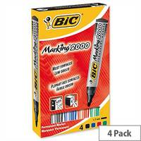 Bic Marking 2000 Permanent Marker Bullet Tip Assorted Pack 4