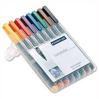 Staedtler 316 Lumocolor Assorted Pen Non Permanent 0.6mm Line Wallet 8