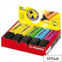 Stabilo Highlighters Pens Assorted Colours Pack 10