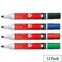 5 Star Assorted Drywipe Markers Bullet Tip Pack 12