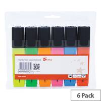 5 Star Chisel Tip Highlighters Pens Assorted Colours Wallet Pack of 6