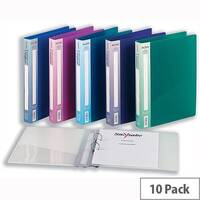 Snopake Executive A4 Assorted Ring Binder Plastic 2 O-Ring 25mm Size Pack 10