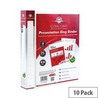 Concord Executive Presentation Ring Binder Polypropylene 4 D-Ring 25mm A4 Clear Pack of 10