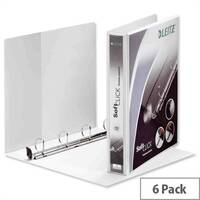 Leitz Softclick Presentation Ring Binder A4 White 25mm Capacity PVC 4 D-Ring 42010001 Pack 6