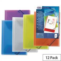 Plastic Document Wallet 3-Flap Elasticated Clear Pack 12 Elba Polyvision