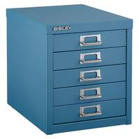 Bisley Multi-Drawer Cabinet 12 inches 5 Drawer Non-Locking Doulton Blue 12/5