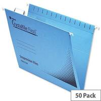 Rexel Crystalfile Flexifile Foolscap Suspension File Blue Pack 50