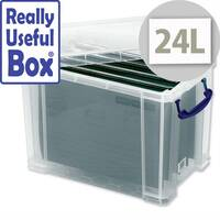 Filing Box Plastic 24 Litre with 10 Foolscap Suspension Files Really Useful