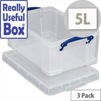 5 Litre Plastic Storage Box Stackable Clear Pack 3 Really Useful