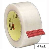 Scotch Clear Packing Tape Polypropylene 50mm x 66m (6 Pack)