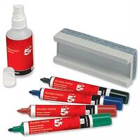 Whiteboard Kit Eraser and Cleaner and 4 Whiteboard Markers Assorted 5 Star