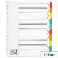 10 Part Extra Wide Index Dividers With Coloured Tabs A4 White 5 Star – Eco-Friendly, Wide Tabs, Multi-Punched, Mylar Reinforcement, Durable &Colour-Coded (907093)